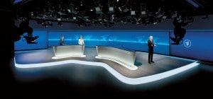 Leinwand im ARD Nachrichtenstudio