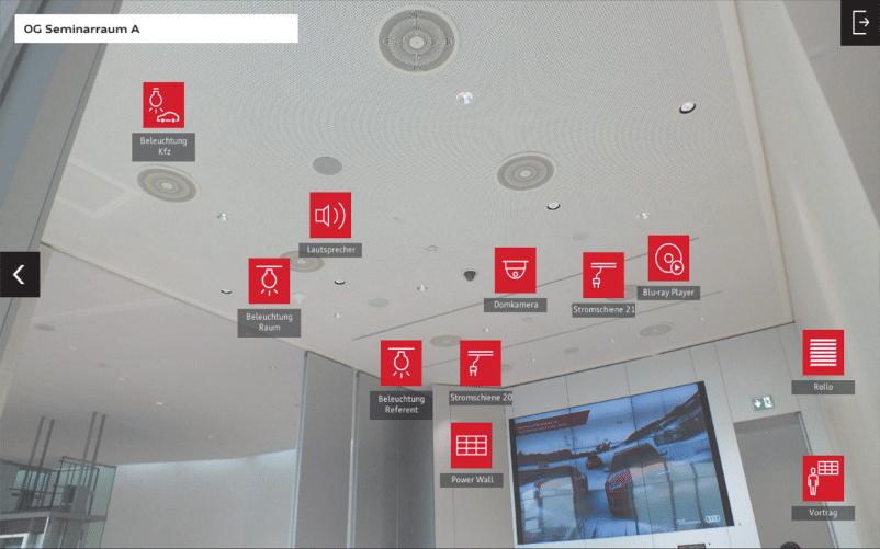 Screenshot der Raumsteuerung – beschriftete Icons sind genau an der Stelle des Fotos platziert, an dem das entsprechend zu schaltende Objekt liegt (Quelle: Audi)