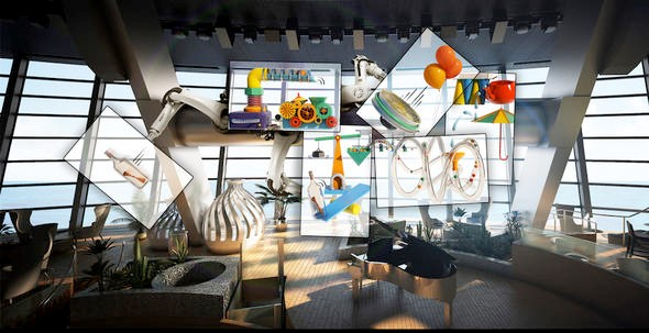 Robo-Screens vor der Panoramawand