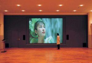 Rückprojektion Beamer in einer Halle