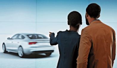 Per Gestensteuerung können Kunden mit den Powerwalls agieren und das Audi-Wunschmodell in Originalgröße innen und außen betrachten