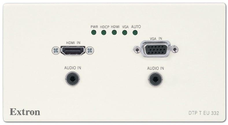 DTP-Endpunkte für die Kreuzschiene: das Wandanschlussfeld DTP T EU 232/332 ist speziell für eine doppele Unterputzdose entwickelt und erlaubt die Einspeisung von einer HDMIund einer VGA-Quelle