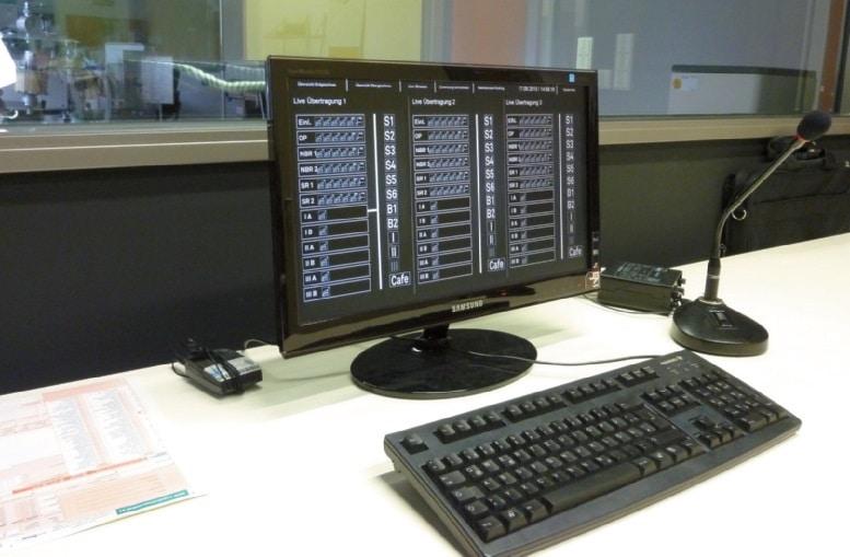 Regieplatz zur Steuerung der Kameras und der Videoaufzeichnung