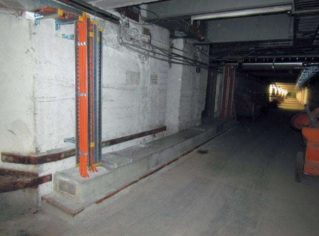 Teil der E30 Funktionserhaltzuleitungen zu den Längsbahnsteigen