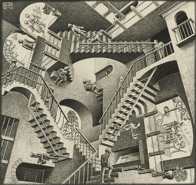 Eschers Werk ist bekannt durch die präzise grafischer Darstellung virtueller Welten, die die physikalischen Gesetze aufheben.