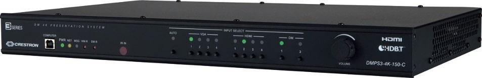 Der DMPS 3-4K-150C ist als 10x1 4K Multiformat-Präsentationssystem inklusive Scaler für kleine bis mittelgroße Konferenzräume konzipiert