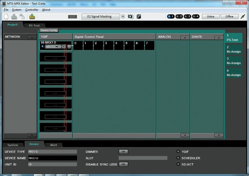 MTX-MRX Editor zur Zusammenstellung von Gesamtsystemen inklusive Verstärkern und Bedieneinheiten