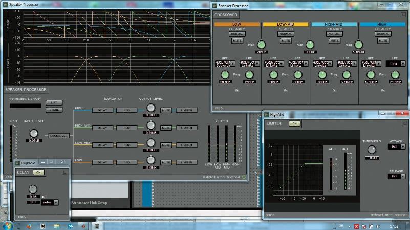 Zur Anpassung der Lautsprecher beinhaltet der MRX7-D ebenfalls eine umfangreiche Funktionspalette