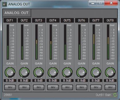 Vom Editor aus können Parameter wie die Pegel der Ausgänge auch eingestellt und kontrolliert werden