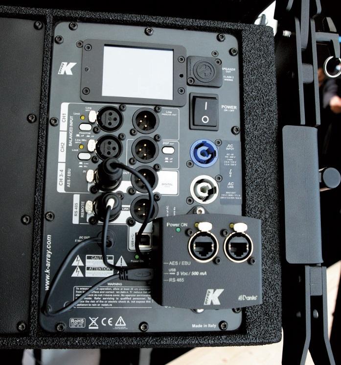 Die K-Dante Box von K-Array ermöglicht Dante-Schnittstellen direkt am Lautsprecher oder Verstärker.