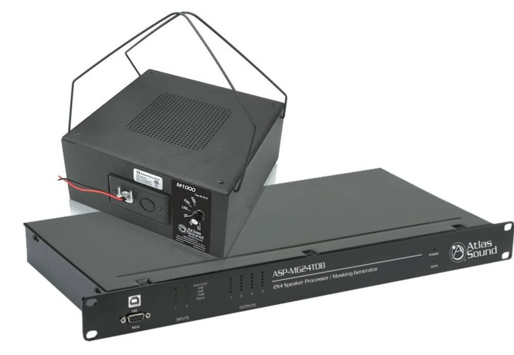 Der Atlas ASP-MG24TDB, hier zusammen mit dem passsenden Lautsprechermodell Atlas M1000, besitzt 2 Eingänge mit 4 SoundMasking-Generatoren und 4 DSP-Ausgänge, die mit einer besonders intuitiven Benutzeroberfläche konfiguriert werden.