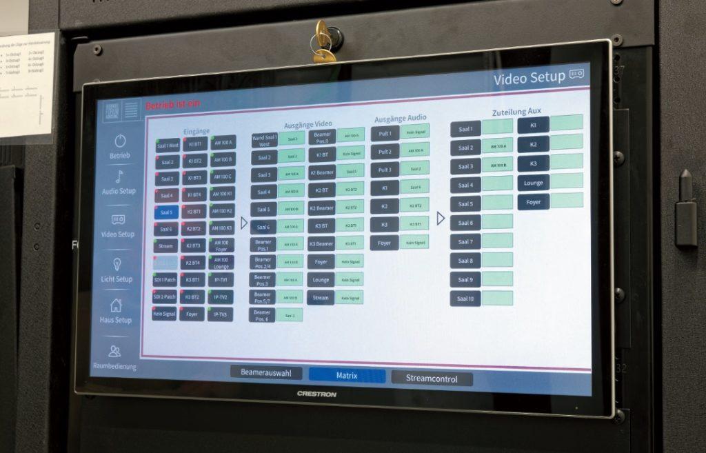 Alles auf einen Blick: Crestron Panel in der Technikzentrale