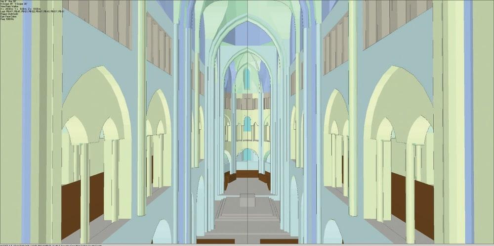 ABB. 2: Ein Blick in den Dom im EASE-Modell von der Orgelempore in Richtung Altar