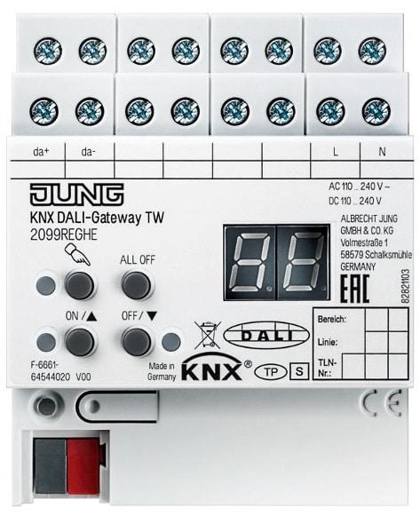 Das KNX DALI-Gateway TW bildet die Schnittstelle zur Steuerung von DALI-Tunable-White-Leuchten in einer KNX Installation. Somit kann die Farbtemperatur von Warm- über Neutral- bis zu Tageslichtweiß geregelt werden.