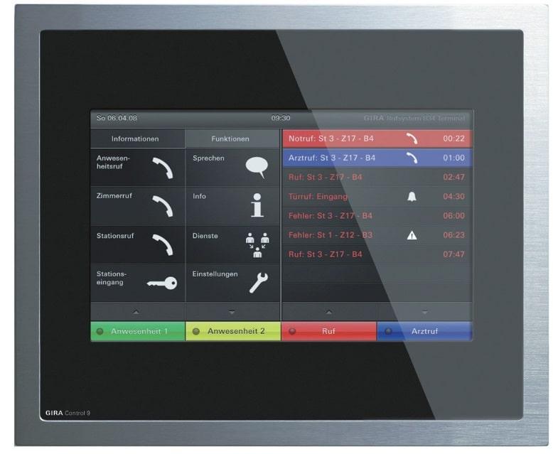 Das Gira Control 9 Dienstzimmerterminal wird über den Systembus an die SystemSteuerzentrale angeschlossen
