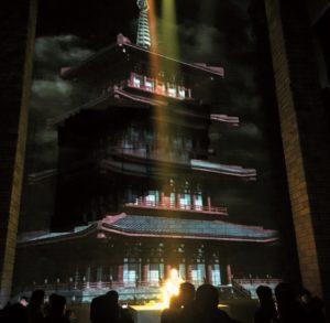 Laserprojektion im Tempel