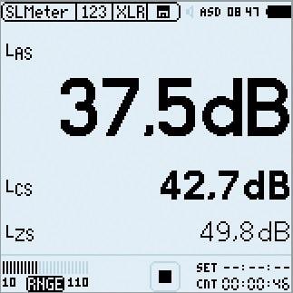 ABB. 03: Anzeige auf einem Pegelmesser mit A-, C- und Z-Bewertung. Deutlich ist der Unterschied bei der Messung des Umgebungsgeräusches im Büro zu erkennen, wo die tieffrequenten Anteile bei der A-Bewertung schwä- cher gewichtet werden.