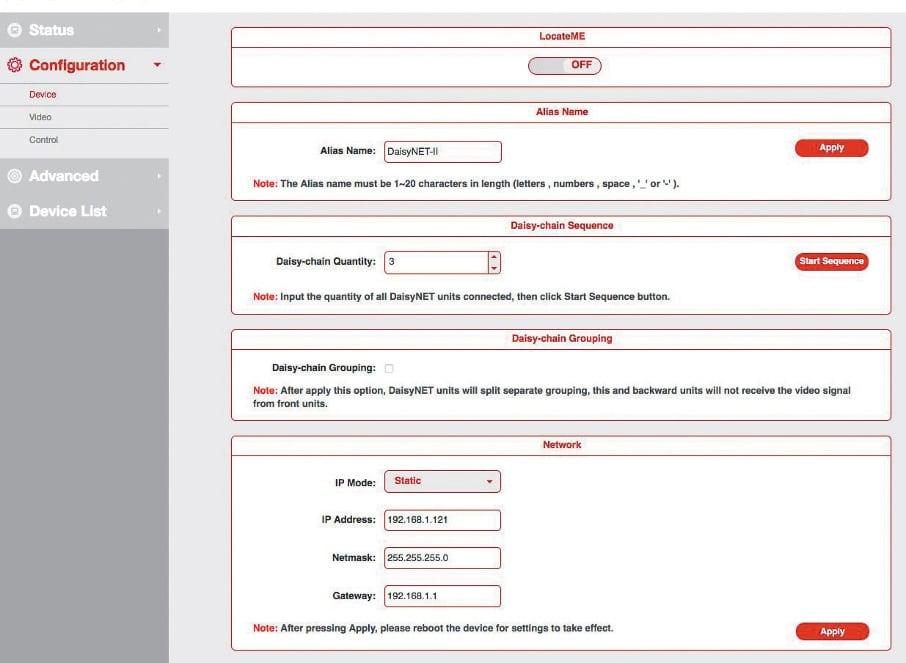 Konfigurationsmenü der Web GUI mit den IPAdressen und der Anzahl der verwendeten TRX-Einheiten.