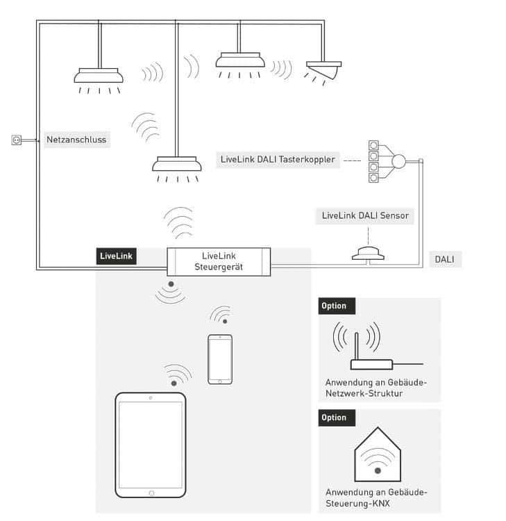 Sowohl das Steuergerät als auch das Zigbee-DALI Interface in den Leuchten von Trilux besitzen einen DALI-Ausgang, über den sich beispielsweise weitere Leuchten, Taster oder Sensoren einbinden lassen
