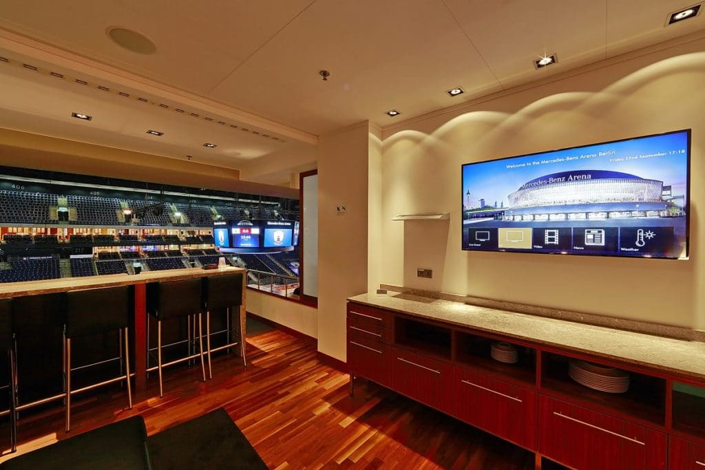 TV screens in and around the  Mercedes-Benz Arena Berlin using the Tripleplay software.