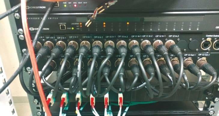 zwei Videosignale aus jedem OP in einen Technikraum führen und in umgekehrter Richtung auch zwei Videosignale in den OP-Saal ausspielen können