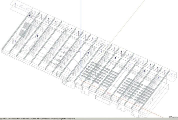 ABB. 1: EASE Modell der Abreisehalle in der einfachen Drahtgitter- Darstellung des EASE Editors