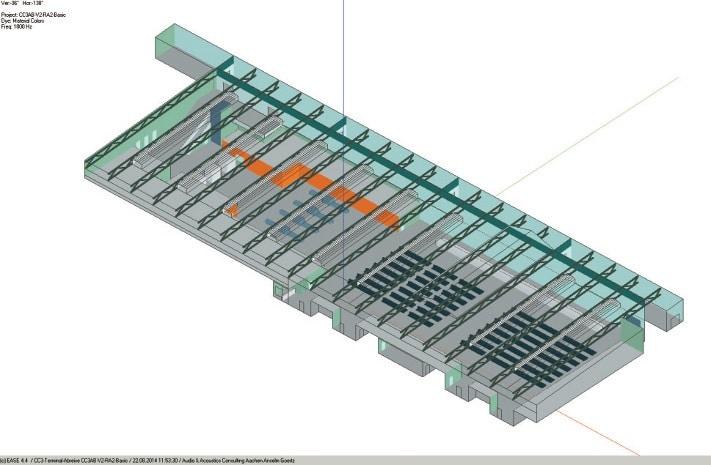 ABB. 2: Modell der Abreisehalle mit Absorberflächen an den Wänden der Einbauten (orange)