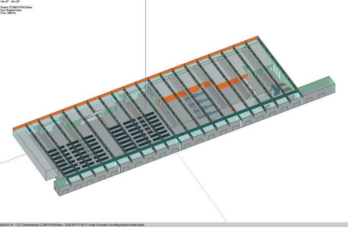 ABB. 3: Modell der Abreisehalle mit weiteren Absorberflächen (orange)