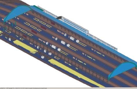 Abb. 3: Das aufwändige EASE-Modell der Gleishalle mit den außen liegenden Bahnsteigen 5 und 6 (S-Bahn)