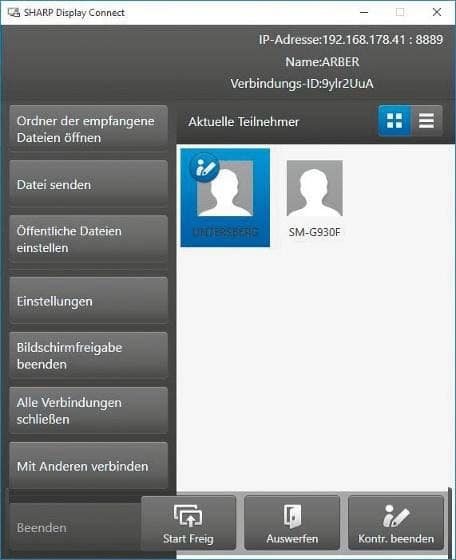 Host-Ansicht der Display- Connect-Software