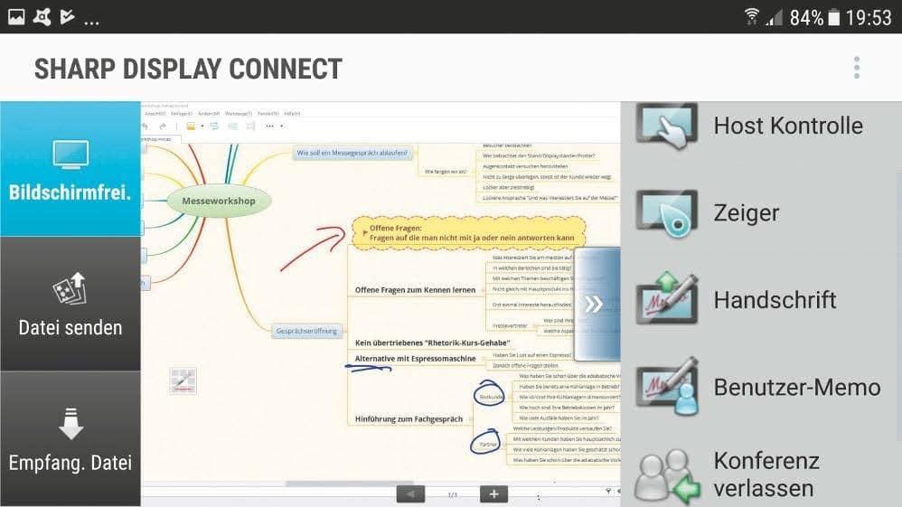 Client-Ansicht der Display-Connect- Software auf Android Smartphone