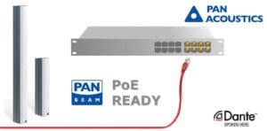 Die schlanken und formschönen Pan Beam PB 04-Dante und 08-Dante verfügen nun über die PoE-Funktion.