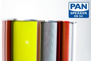 Sprachalarmierung im schicken Gewand: Pan Speaker EN54 sind in nahezu jeder Wunschfarbe erhältlich.