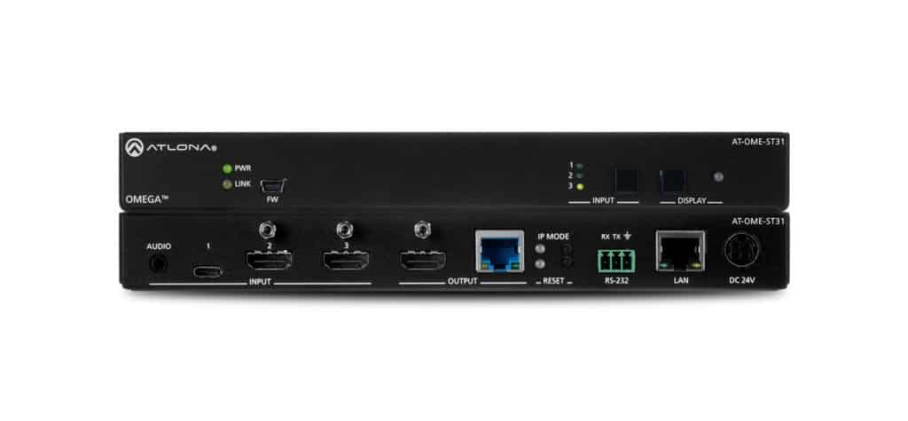 Atlona's OME-ST31 ist ein zwei HDMI- und ein USB-C-Eingangs 4K Video-Switcher mit gespiegeltem HDMI- und HDBaseT-Ausgang.