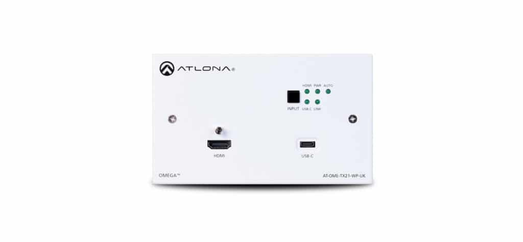 Das Atlona Omega Wandpanel mit HDMI und USB-C Eingang sowie HDBaseT Ausgang. Mit schwarzer und weißer Abdeckung.