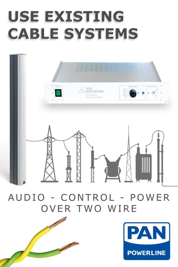 Spart Zeit, Geld und Nerven: Die intelligenten Pan Beam-Lautsprecher mit Powerline-Funktion brauchen lediglich einen Zweileiter!