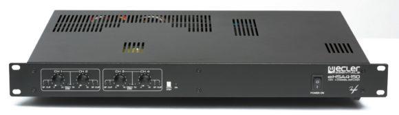 Vierkanalige Endstufe mit 4 x 150 W und 100-V-Ausgangsübertragern