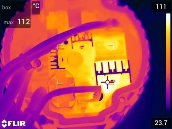 Wärmebild des Schaltnetzteils eines LED-Fluters