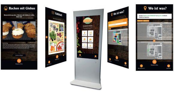Die App auf den interaktiven Stelen bietet den Globus-Kunden einen umfangreichen Service