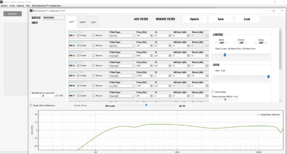 Wave Dynamics Oberfläche im Audac System Manager