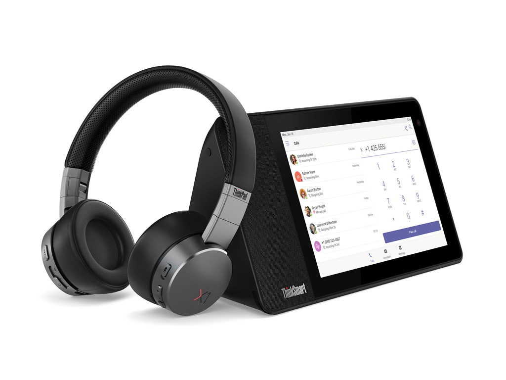 ThinkSmart View von Lenovo mit Headset