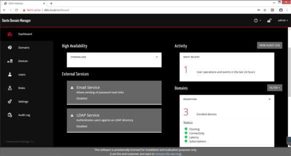 Screenshot Dante Domain Manager