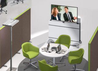 Das Medienmöbel DisplayMobil von Kindermann zielt auf den Einsatz in flexiblen und mobilen Bürowelten ab.