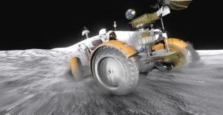 In der virtuellen Wirklichkeit können Besucher im Rover über die Mondoberfläche fahren.