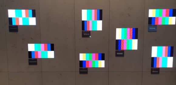 Demo-Wand mit verschiedenen aktuellen LED-Technologien auf dem ISE-Stand der Lang AG