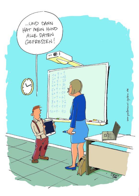 Cartoon digitale Schule