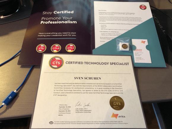 Zertifikat der CTS-Prüfung