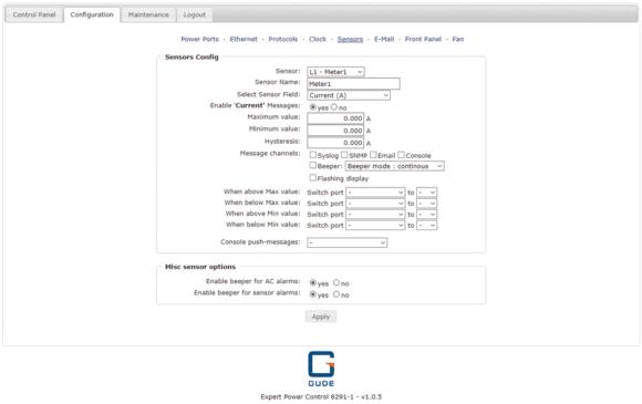 Gude Expert Power Control 8291-1 Screenshot_Sensors