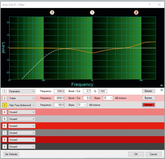 Filtereinstellungen in der DSP-Configurator Software